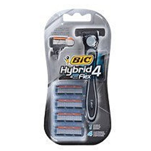 BiC Hybrid 4 Flex Advance for Men, Disposable 4-Blade System, 2 Pack