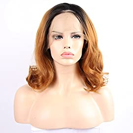 Ombre Dark Roots to Mixed Wine Red Deep Wave Lace Front Wigs Synthetic Hair Glueless Wig With Baby Hair Middle Part For…