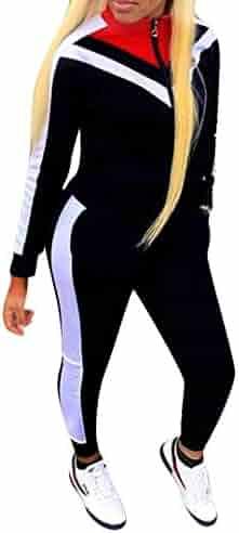 28b69a3a6e4 Women Jogging Suits Color Block Long Sleeve Jacket Skinny Long Pant  Tracksuit Sets Activewear 2 Piece