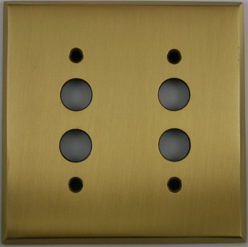 (Classic Accents Antique Brass 2 Gang Push Button Light Switch Wall Plate)