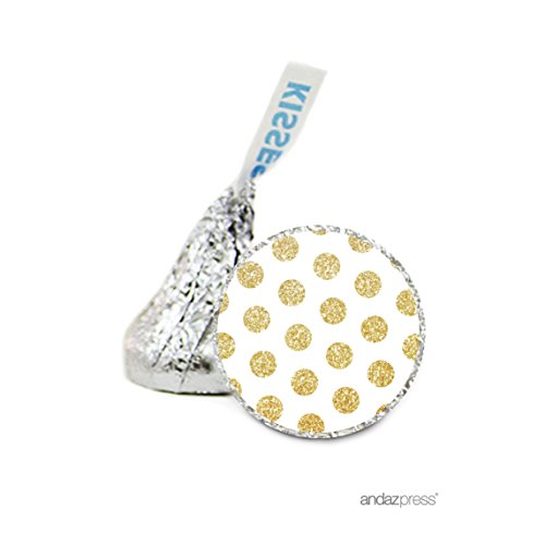 e Drop Labels Stickers, Birthday, Faux Gold Glitter Dots on White, 216-Pack, For Hershey's Kisses Party Favors, Gifts, Decorations (White Kiss)