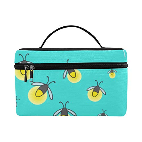 Firefly Insect Flying Light Large Capacity Size Lady Cosmetic Bag Makeup Organizer Lunch Box Train Toiletry Case For Girls Teen Women Travel With Clear Zipper And Single Layer]()