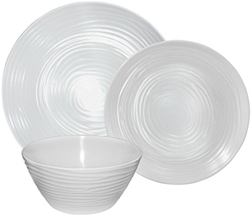 Parhoma White Melamine Plastic Home Dinnerware Set, 12-Piece Service for 4 - 12-piece round dinner set includes 4 dinner plates, 4 bread, and butter plates and 4 soup and salad bowls 100% Melamine material provides durability to resist chip, crack, and break. Melamine is a hard PLASTIC that can stand up to the rigors of everyday use. Safe and Easy Use - BPA Free, Dishwasher Safe, Stain Resistance, Heat Resistance up to 212° Fahrenheit temperature. Melamine dinnerware used in the MICROWAVE is NOT recommended. - kitchen-tabletop, kitchen-dining-room, dinnerware-sets - 41hiUcXZKML -