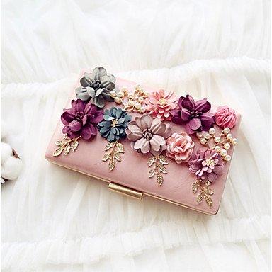 Bolsa de noche de las mujeres PU All Seasons Evento/Party &Amp; Noche Fecha magnético Peachblow Baguette Flor de albaricoque rubor rosa rojo y negro,Peachblow Apricot