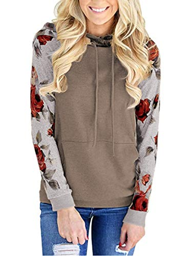 Famulily Womens Floral Sweatshirts Long Sleeve Soft Comfy Hooded Pullovers Sweater Causal Fall Clothes Coffee - Hooded Sweater Comfy