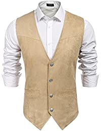 Men's Casual Suede Leather Vest Single-Breasted Vest Jacket