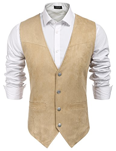 COOFANDY Men's Suede Leather Suit Vest Casual Western Vest Jacket Slim Fit Vest Waistcoat (Large, Brown)