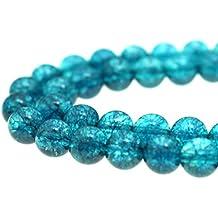 "GoodBead 8mm Turquoise Blue Topaz Quartz Round Polished Beads 15.5"" Strand for Jewelry Making"