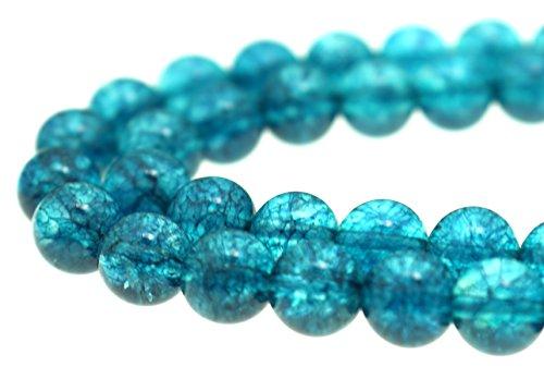 GoodBead 8mm Turquoise Blue Topaz Quartz Round Polished Beads 15.5