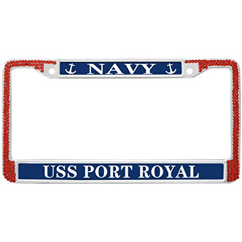 (GND Thin License Plate Frame Stainless Steel,Navy USS Port Royal License Plate Frame Veteran Luxury Handmade Red Rhinestone License Plate Frame for USA Auto Car Truck SUV)