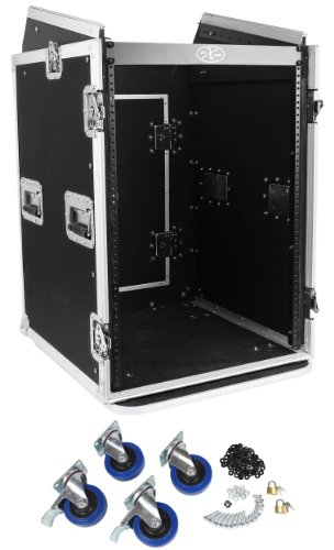 Pro X TOV T-16MRSS 16U Straight +10U Slanted DJ Rack Flight Case w/Wheels 3/8'' by Tov