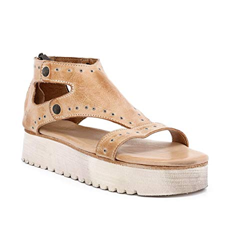 Bed|Stu Women's Soni Leather Sandal (6.5 M US, Bone Rustic) (Footwear Light Bone)