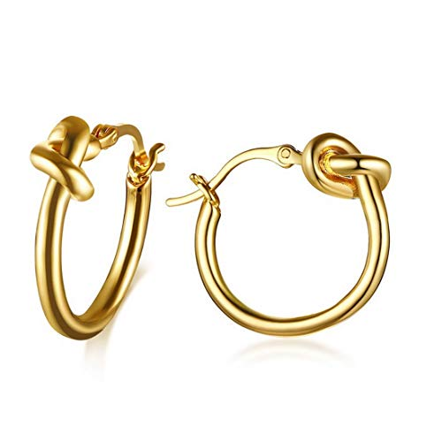 - Gold Love Knot Hoop Earrings for Women Girl Stainless Steel Jewelry G4147G