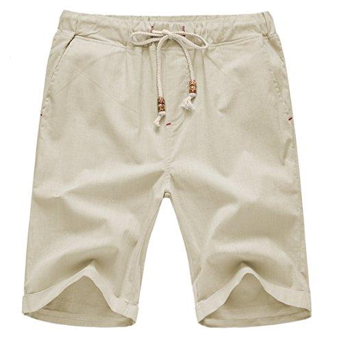 (Our Precious Men's Linen and Cotton Casual Classic Fit Short Beige 3L)