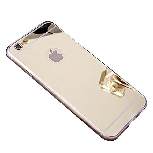 iPhone 6 Mirror Case, iPhone 6S Mirror case,YMCCOOL Luxury Mirror Back Shock-Absorption TPU Bumper Anti-Scratch Bright Reflection Protective Case for iPhone 6S /iPhone 6 4.7inch (Gold)
