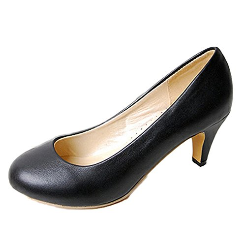 Nonbrand Women's Kitten Heel round toe pumps high heels shoes Black lxJjA30