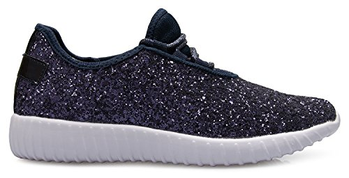 K Comfort Womens Casual Sparkly On Easy OLIVIA Glitter Lightweight Fashion Sneakers Glitter Navy UdwxzT