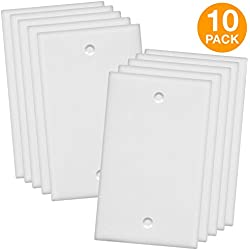 "ENERLITES Blank Device Wall Plate, Size 1-Gang 4.50"" x 2.76"", Polycarbonate Thermoplastic, 8801-W-10PCS, White (10 Pack)"