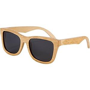 Shiner Bamboo Wood Sunglasses - UV400 Polarized Lenses, Wayfarer Style