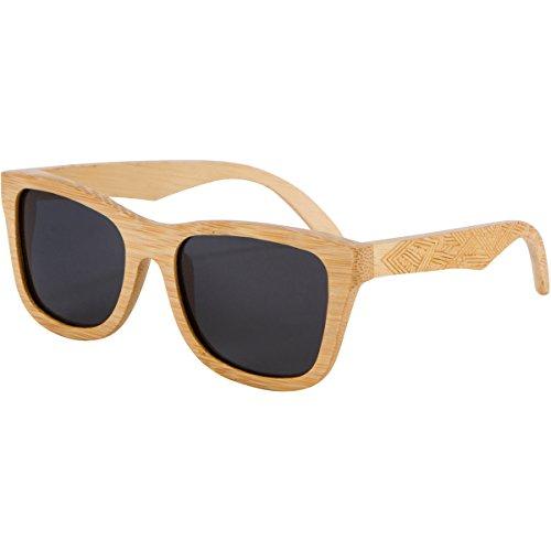 Shiner Bamboo Wood Polarized Sunglasses - UV400 Polarized Lenses - Wayfarer Style Bamboo/Smoke