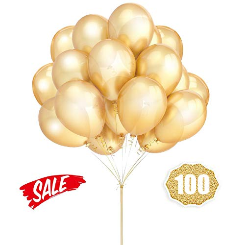 HoveBeaty Gold Balloons 12 Inches Thicken Latex Metallic Balloons 100 Pack for Wedding Party Baby Shower Christmas Birthday Carnival Party Decoration Supplies