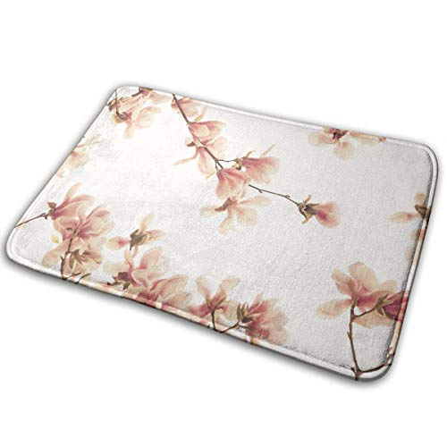 Salmon Pink Blossom,Anti-Slip Machine Washable Door Mat Bathroom Kitchen Rug Welcome Doormat Thicken Playmat Multi-purpose Floorcover 31.5(L) X 19.7(W) - Machine Salmon