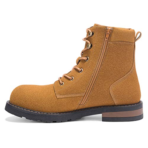 Brown Mens Leather Suede (GM GOLAIMAN Men's Motorcycle Boots Winter Work-Suede Leather Lace Up Zip Ankle Boot for Military Tactical Combat Hiking Riding Brown 9)