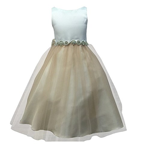 brown and champagne flower girl dresses - 8