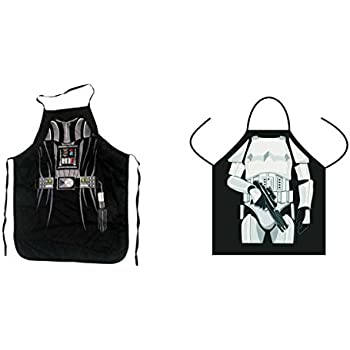 (Set of 2) Star Wars Darth Vader and Stormtrooper Aprons Kitchen Cooking with Gift Box