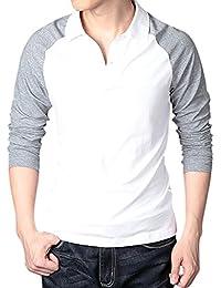 Men's 2 Button Raglan Long Sleeve Polo T-Shirts