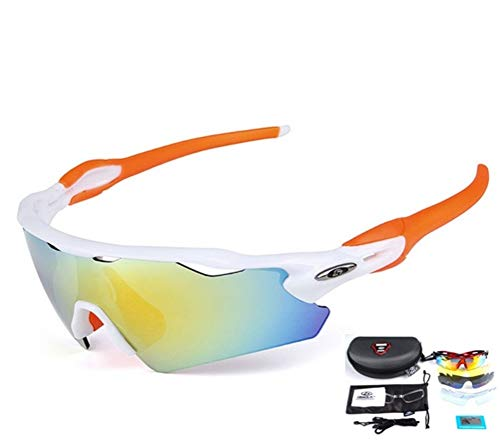 Baselay Polarized Sports Sunglasses with 5 Interchangeable Lenes UV400 Sun Glasses for Men Women Youth Cycling Running Driving Fishing Golf Baseball TAC Goggles (White/Orange)