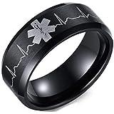خاتم أسود للجنسين مع شعار نبض القلب مقاس 13