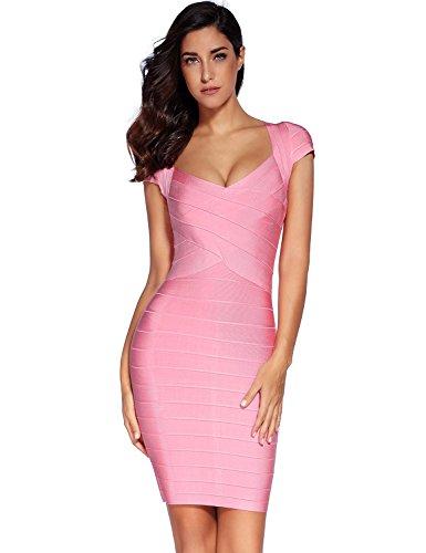 5f2ce89d91 Meilun Women s Bandage Dress Square Neck Bodycon Party Dress ...