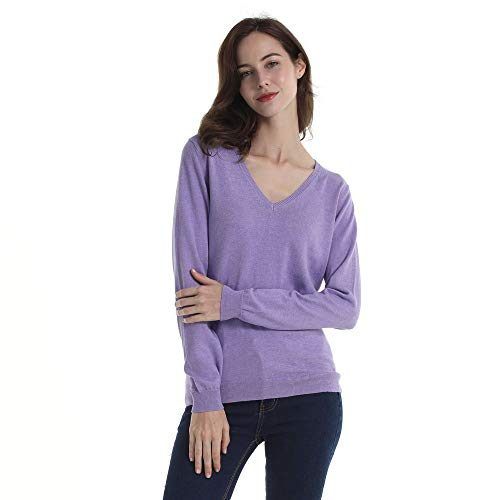 HUTOBI Women's Cotton Fashion V Neck Long Sleeve Knit Pullover Fall Sweaters ()