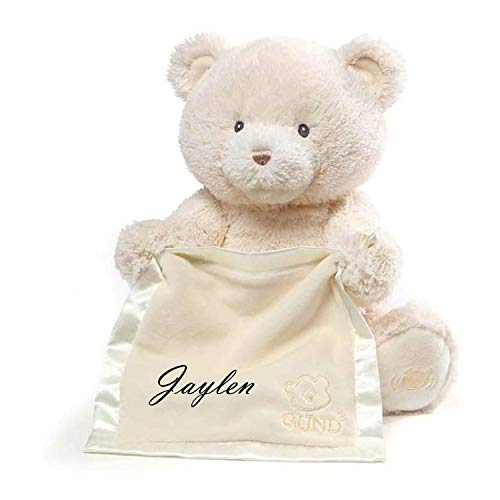 Peek A-boo Bear Blanket - Tri Color Robes Personalized Customized Animated Peek A Boo Bear Monogrammed Embroidered Name Blanket Teddy Bear (Beige)