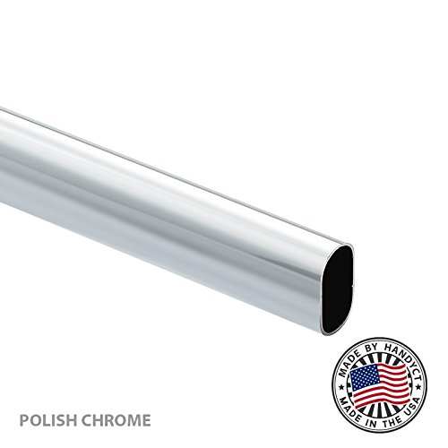 4 Pro-Pack Long Oval Wardrobe Tube Closet Rod Pack Polish Chrome Oval Tubing with End Supports Choose Your Accurate Size 1//4, 1//2, 3//4