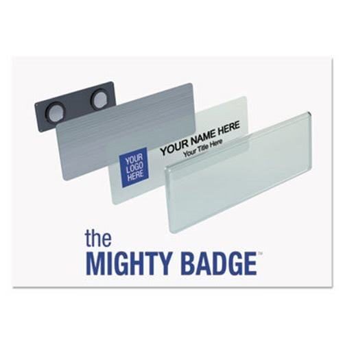 The Mighty Badge Name Badge Bulk Kit, Silver, Laser/Inkjet, 1 x 3, 50 per Kit by The Mighty Badge