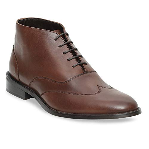Urbane Shoes Co Genuine Cowhide Leather Mens Chukka Boots Work Hiking Cowboy Military Leather Boots Men Chocolate Brown