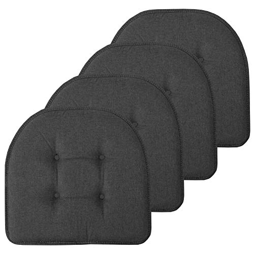 Sweet Home Collection Chair Cushion Memory Foam Pads Tufted Slip Non Skid Rubber Back U-Shaped 17″ x 16″ Seat Cover, 4 Pack, Charcoal Gray
