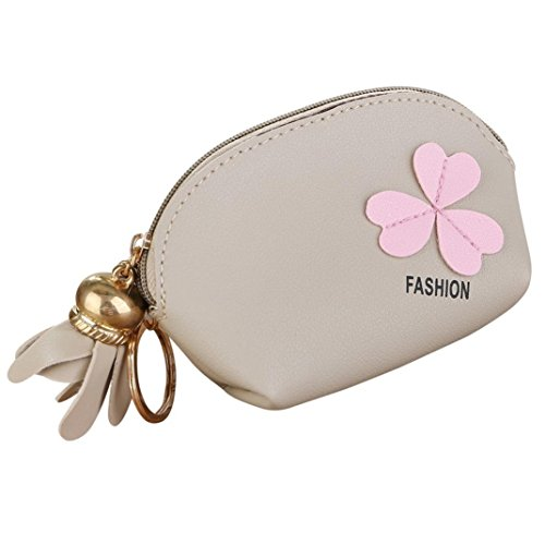Price comparison product image Connia Fashion Cute Gift Women Flower Zip Wallet Coin Purse Keychain Bag Storage Bag (Beige)
