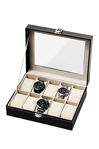 Black-Leather-Watch-Box-Case-Fits-10-Watches-10-x-8-x-325