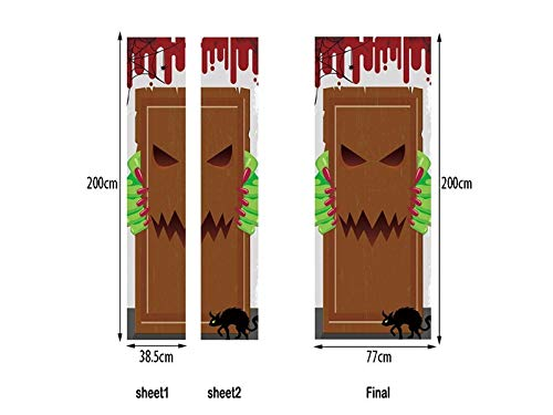 OVIIVO Halloween Wow Halloween Horror Door Sticker Scene Window Door Art Decor ()