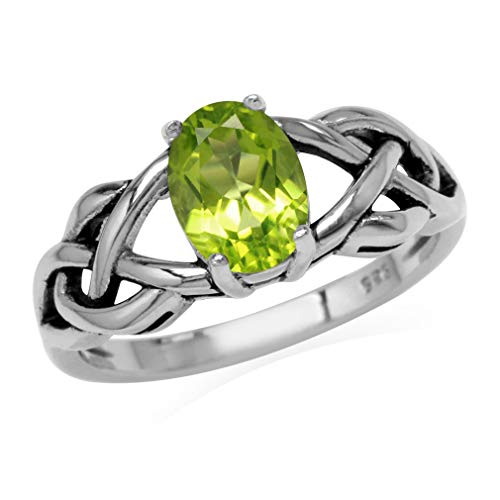 1.32ct. Natural Peridot 925 Sterling Silver Celtic Knot Solitaire Ring Size 8.5 (Peridot Celtic Knot)