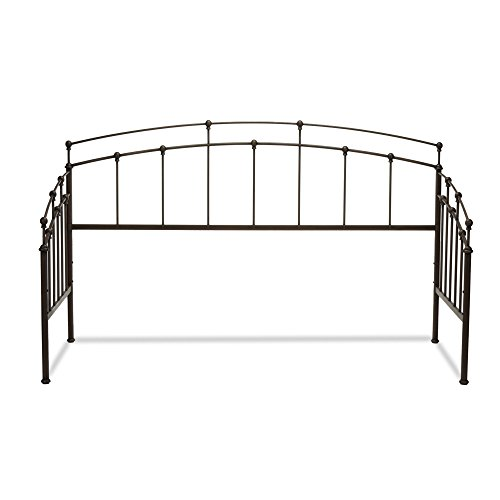 - Fashion Bed Group Fenton Metal Daybed Frame with Gentle Curves and Spindle Panels, Black Walnut Finish, Twin