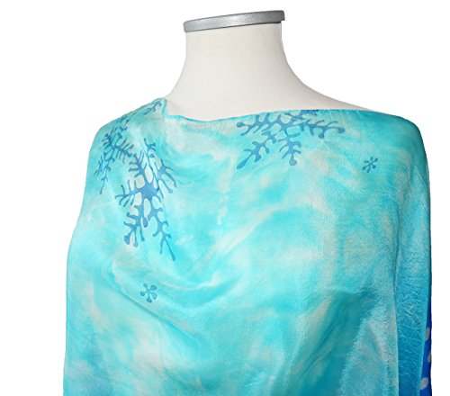 Shibori Silk Scarf Hand dyed Blue Snowflakes Womens Christmas gift Shawl Neck Accessory For Her