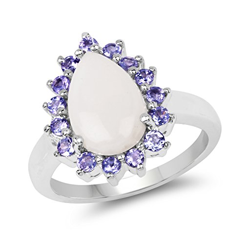 2.30 Carat Genuine Opal & Tanzanite .925 Sterling Silver Floral Ring
