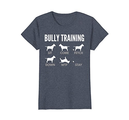 Womens Bull Terrier Shirts - Bully Training Small Heather Blue