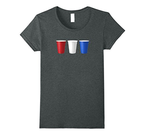 Frat Bro Costume (Womens Red White and Blue Beer Pong Cups - USA! America! Pong! Medium Dark Heather)
