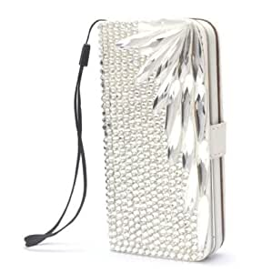 Wing Silver Luxury Bling Cute Lovely Fashion Diamonds Leather Deluxe Crystal Wallet Flip Lanyard Bag Case Cover For Nokia Lumia 925