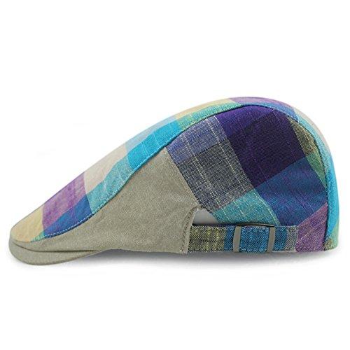 Checker Cap Hat - LOCOMO Checker Check Plaid Tartan Newsboy Flat Cap FFH273s02, One Size, FFH273s02 Purple Blue